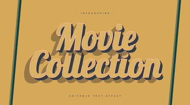 Żółty styl vintage tekst z teksturą efekt. efekt stylu tekstu z lat 70. i 80. edytowalny efekt stylu tekstu