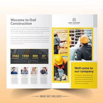Żółty szablon broszury bifold