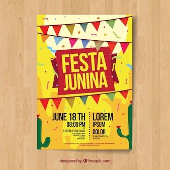 Żółty szablon plakat junina festa