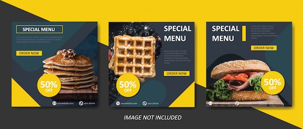 Żółty szablon transparent sprzedaż żywności i kulinarne