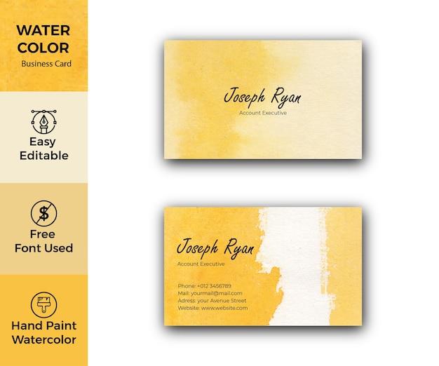 Żółty szablon wizytówki akwarela