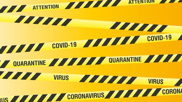 Żółty sztandar na temat kwarantanny z koronawirusa. żółte wstążki w czarne paski. ilustracja.