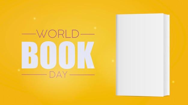 Żółty sztandar światowego dnia książki. biała pusta książka