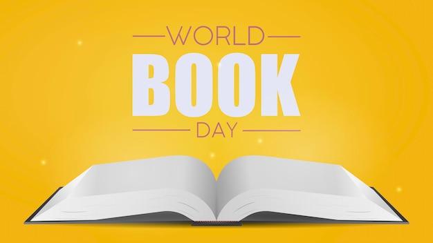Żółty sztandar światowego dnia książki. biała pusta otwarta książka