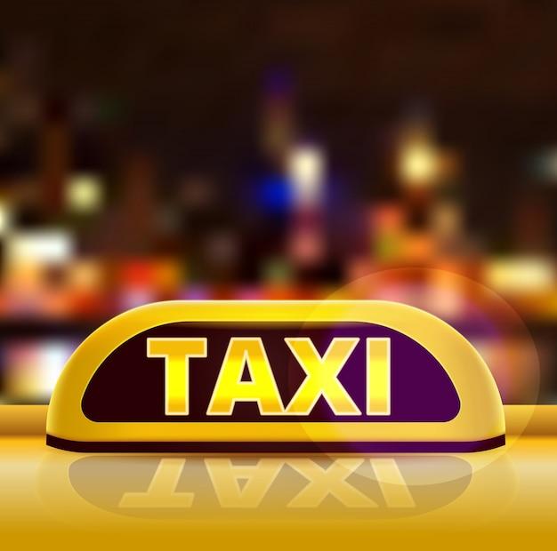 Żółty taxi znak na dachu samochód w miasto ulicie. samochód taksówki w nowym jorku w nocy. świecący neon znak taxi na tle miasta duże bokeh. ilustracja.