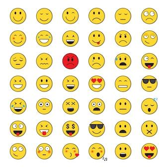 Żółty uśmiechniętej twarzy pozytywnych i negatywnych ludzi zestaw ikon emocji