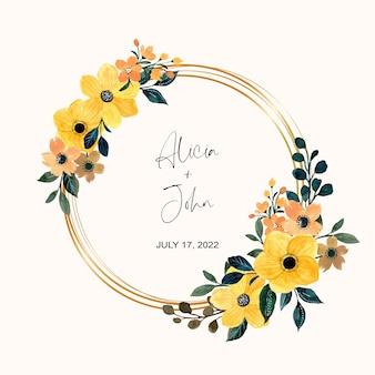Żółty wieniec kwiatowy ze złotą ramą