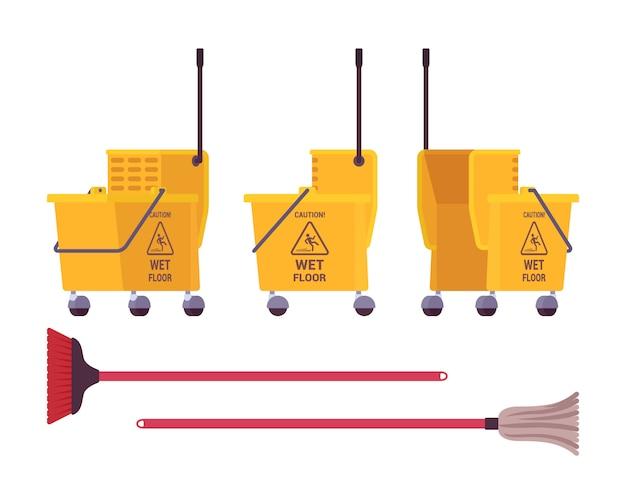 Żółty wózek do czyszczenia podłogi i mop