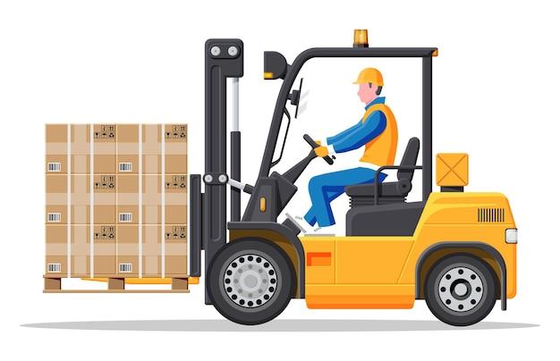 Żółty wózek widłowy z kierowcą na białym tle. pusty elektryczny uploader. dostawa, logistyka i spedycja ładunków. sprzęt magazynowy i magazynowy. płaska ilustracja wektorowa