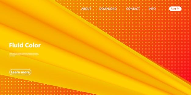 Żółty. wstęp. plakat z płynem 3d. wektor.