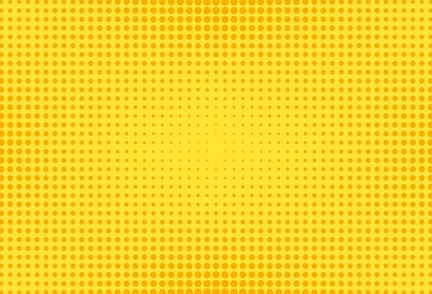 Żółty wzór pop-artu. tło komiks półtonów. ilustracja wektorowa.