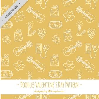 Żółty wzór z szkice valentine elementów i gitara