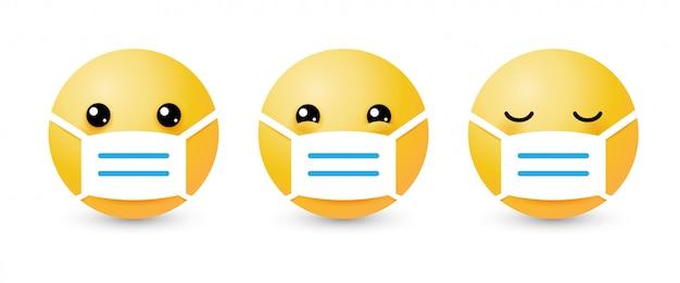 Żółty zestaw emoji z maską medyczną. pojęcie ochrony przed wirusami i kwarantanny covid-19