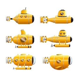 Żółty zestaw łodzi podwodnych