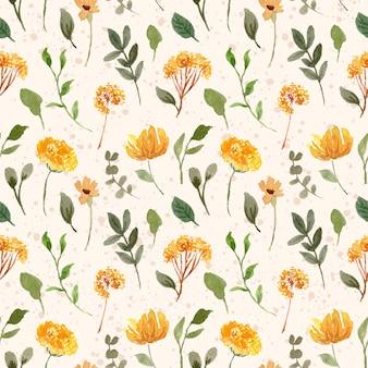 Żółty zielony kwiatowy ogród akwarela bezszwowe wzór