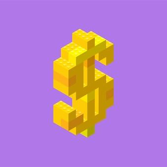Żółty znak dolara złożony z plastikowych bloków w widoku izometrycznym.