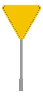 Żółty znak drogowy geometryczny kształt, trójkątna ikona kreskówka na białym tle symbol ruchu
