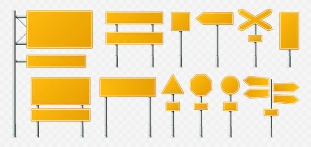 Żółty znak drogowy, puste znaki drogowe, tablice transportowe i szyld na metalowym stojaku realistyczny zestaw
