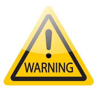 Żółty znak ostrzegawczy z wykrzyknikiem. wektor symbol ikona ilustracja