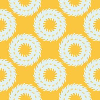 Żółty zroszony wzór z białymi ozdobami vintage. tapeta w szablonie w stylu vintage. indyjski kwiatowy element. ozdoba graficzna na tkaninę, opakowanie, opakowanie.