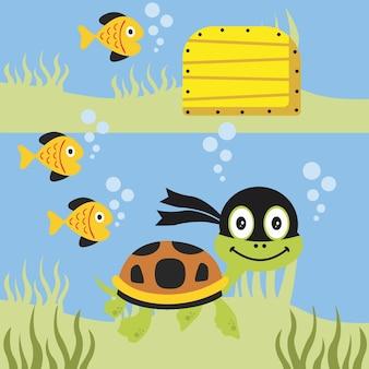Żółw bawi się ze swoimi małymi przyjaciółmi pod kreskówka wektor morze