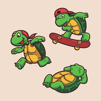 Żółw biegał, jeździł na deskorolce i śpiący zestaw ilustracji maskotki z logo zwierzęcia