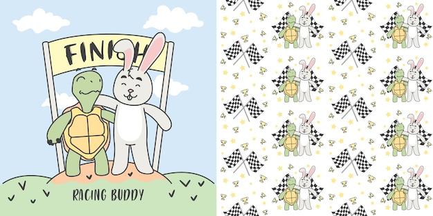 Żółw i królik w mecie i bezszwowej deseniowej ilustraci.