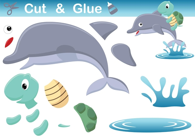Żółw jazda na delfinach w wodzie. papierowa gra edukacyjna dla dzieci. wycięcie i klejenie. ilustracja kreskówka