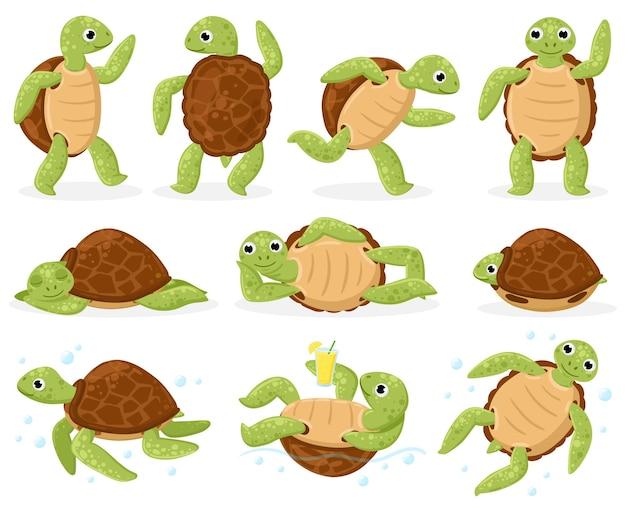 Żółw kreskówka. ładny żółw morski pływanie, taniec i spanie, małe wodne gady kreskówka wektor zestaw ilustracji. maskotki szylkretowe