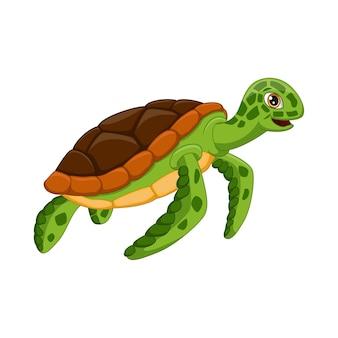 Żółw kreskówka na białym tle
