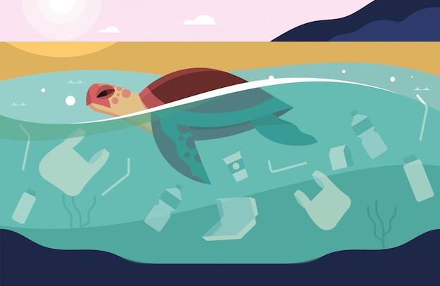 Żółw morski pływający w oceanie z dużą ilością śmieci