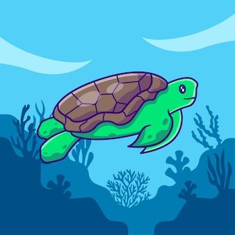 Żółw morski pływający w oceanie