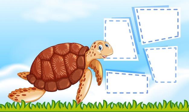 Żółw na szablonie notatki