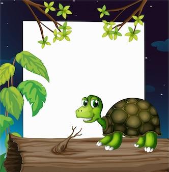 Żółw nad drewnem z pustą deską z tyłu