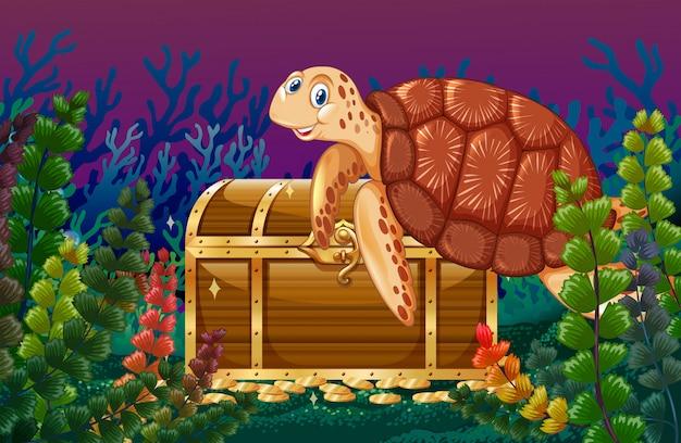 Żółw pływający pod morzem