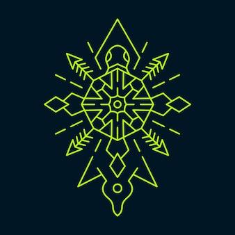 Żółw symetria ornament monoline streszczenie