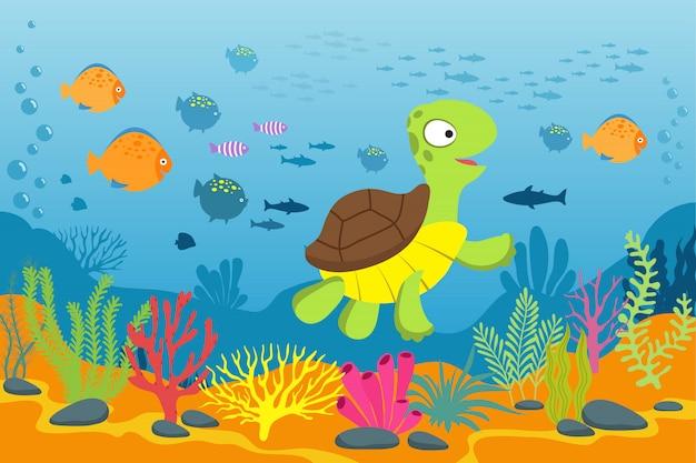 Żółw w podwodnej scenie. żółw, wodorosty i ryby w dnie oceanu.