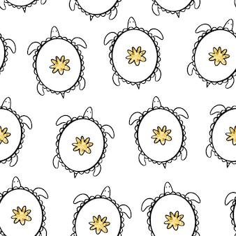 Żółwie doodle. wektor wzór