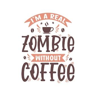 Zombie bez projektu napisu kawy