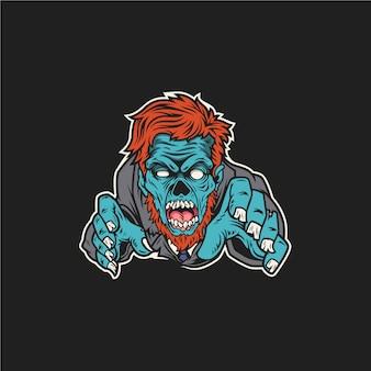 Zombie charakter na białym tle