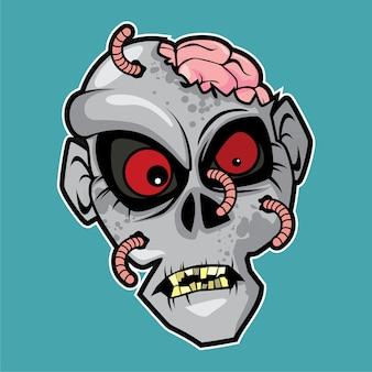 Zombie head - maggot face