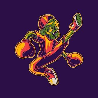 Zombie kopie prawą stopą boksu