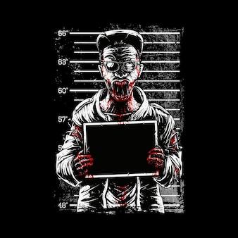 Zombie mugshot zdjęcie zastrzelonych ilustracji