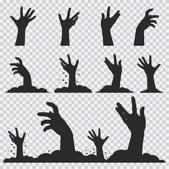 Zombie ręce czarna sylwetka. zestaw ikon halloween na białym tle
