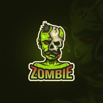 Zombie z logo esportowym z wąsami