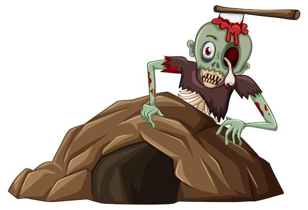 Zombie z małą jaskinią na białym tle