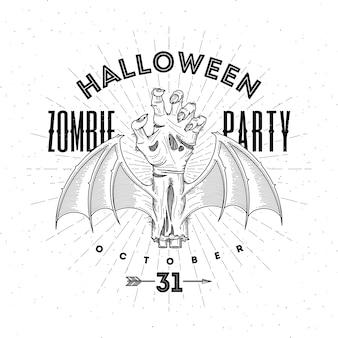 Zombie zgniła ręka ze skrzydłami nietoperza - ilustracja halloween line art