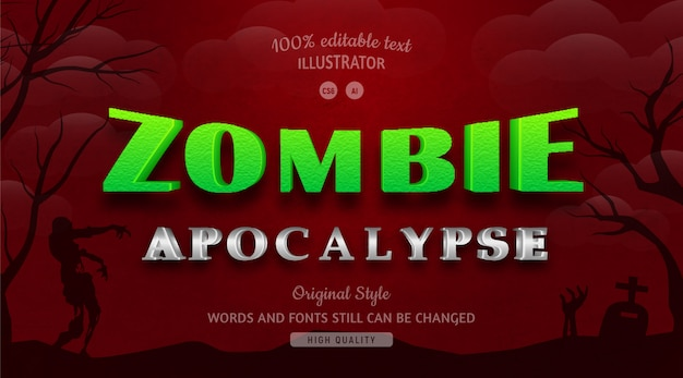 Zombie zielony kolor tekstu z gradientem.