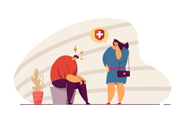 Żona wzywająca karetkę po męża cierpiącego na ból głowy. kobieta rozmawia przez telefon, mężczyzna siedzący z głową w dół ilustracja wektorowa płaski. zdrowie, opieka zdrowotna, koncepcja migreny na baner, projektowanie stron internetowych