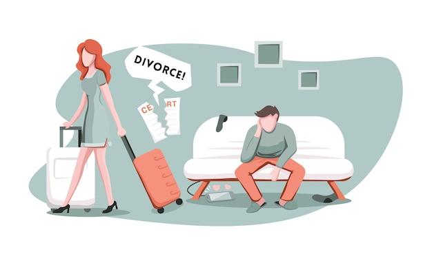 Żona z walizką odchodzi od męża